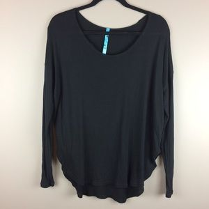 Free People rounded hem black slouchy top
